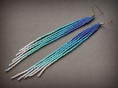 Long ombre beaded earrings Extra long blue earrings Boho seed bead fringe earrings Blue and white bohemian earrings Evening dangle earrings