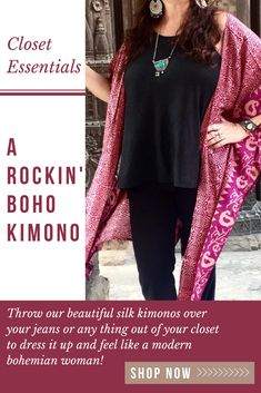 Beautiful silk boho kimonos, great for everyday use to add style to any outfit. Eco-friendly fashion for the fashion conscience shoppers. Our kimonos are made from up cycled silk saris from India. Boho Kimono, Silk Kimono, Boho Womens Clothing, Women's Clothing, Wrap Around Skirt, Boho Style Dresses, Eco Friendly Fashion, Modern Bohemian, Saris