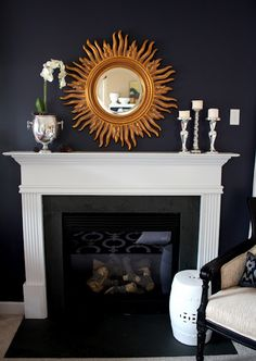 Emily's Tips for Bold Spring Color - Simple Fireplace Mantle Decor Simple Fireplace, Black Fireplace, Fireplace Mantle, Fireplace Design, Fireplace Decorations, Fireplace Ideas, Home Living Room, Living Room Decor, Home Remodeling