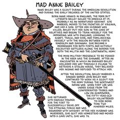 Today's Warrior Women Wednesday drawing: Anne Bailey! Liz usually proofs these, so it's likely rife with misspellings.