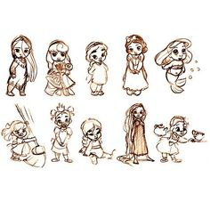 cute! but i can't tell who the two in the middle are... the top row is Pocahontas, Aurora, ?, Snow White, Ariel and the bottom row is Cinderella, Tiana, ?, Rapunzel & Belle
