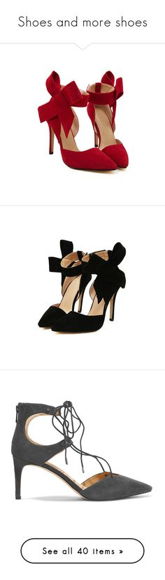 """""""Shoes and more shoes"""" by armsdani ❤ liked on Polyvore featuring shoes, pumps, heels, high heeled footwear, pointy-toe pumps, red high heel shoes, red pointed-toe pumps, red bow pumps, high heel pumps and black high heel pumps"""