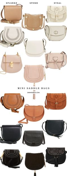 Fashion: Splurge, Spend, or Steal?? Classic Mini Saddle Bags in every color, via @sarahsarna.