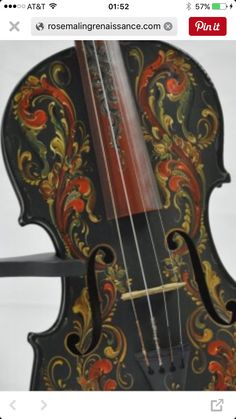 Musical This N That Beautiful Violin Front Rosemaling By Andrea Herkert My Great Grandmother Painted Victorian Scenes On Her Piano
