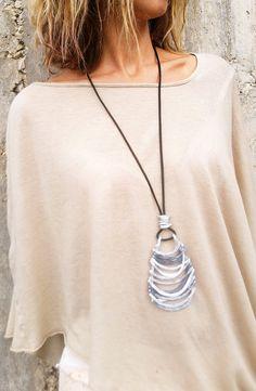 Collana pendente avvolto argento e nichel filo collana