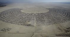 An aerial view of Burning Man 2015 in the Black Rock Desert of Nevada on September 2, 2015.