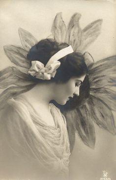 """Lady Flower""    Edwardian Postcard"
