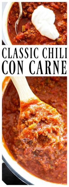Four Kitchen Decorating Suggestions Which Can Be Cheap And Simple To Carry Out Classic Chili Con Carne - A Dash Of Sanity Chili Recipes, Mexican Food Recipes, Soup Recipes, Cooking Recipes, Easy Dinner Recipes, Fall Recipes, Easy Meals, Quick Recipes, Dinner Ideas
