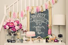 Little Girl Birthday Party Ideas. All pink! Tassle banner, pink peonies, and cute decor for the party. Pink Birthday, Sweet 16 Birthday, 15th Birthday, Happy Birthday, Vintage Birthday, Sweet Sixteen, Birthday Party Decorations, Birthday Parties, Party Centerpieces