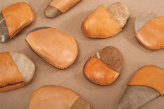 Leather Covered Rocks as Paperweights