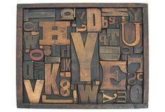 Framed Wood Typeset Letters on OneKingsLane.com