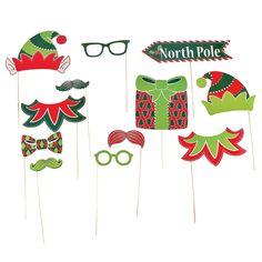 Elf Photo Stick Props inspiration + santa hat, reindeer antlers, (Dickensian ones would be good for christmas too, plus mistletoe)