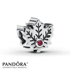 Pandora Maple Leaf Charm Lab-Created Ruby Sterling Silver