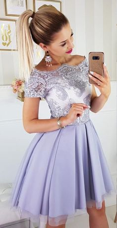 Off-the-Shoulder Above-Knee Pink Homecoming Party Dress with Appliques elegant off the shoulder homecoming dress, chic A-line homecoming dress with lace appliques, fashion short party dress with appliques, Modest Bridesmaid Dresses, Hoco Dresses, Homecoming Dresses, Cute Dresses, Beautiful Dresses, Dress Outfits, Evening Dresses, Fashion Dresses, Formal Dresses