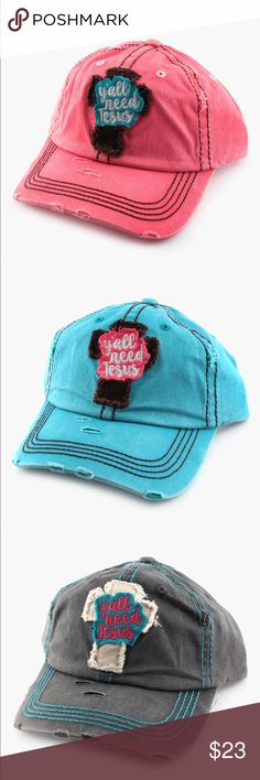 💋BUNDLE 3 WE SHIP FREE💥👍🏾YALL NEED JESUS CAP ♥️💋💋Adjustable fit One size Patch & embroidery detailing♥️💋COLORS( pink,blue, & green) Accessories Hair Accessories