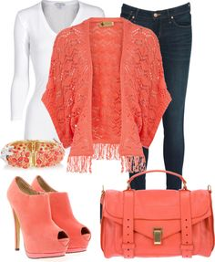 """~Coral Sweater~"" by mels777 ❤ liked on Polyvore"