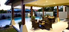 Outdoor furniture setting and pool (Pool Builder Brisbane, Landscaper Brisbane)