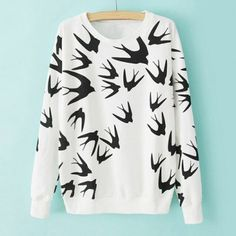 $16.87 Casual Style Round Neck Swallow Print Contrast Color Long Sleeve T-Shirt For Women