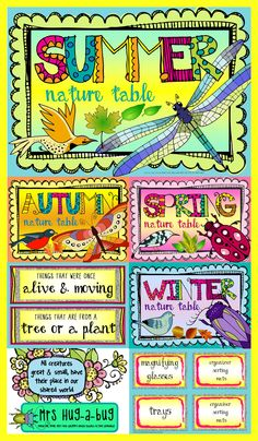 This bright and colorful A3 sized Nature Table pack (90+ pages) contains all you'll need to set up a bold and eye catching Nature Table!   It's packed full of posters, labels and sorting activities to whip that dull, dusty corner in your classroom into an interactive and engaging learning center for all ages...