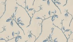 Shade Indigo (1943/705) - Prestigious Wallpapers - A pretty leaf trail design with metallic highlights. Showing in indigo blue and silver on a pale beige background - other colour ways available. Please request a sample for true colour match. Paste-the-wall product.