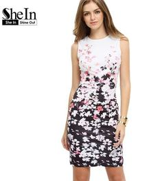 SheIn New Woman Dresses 2016 Fashion Work Wear Summer Multicolor Round Neck…