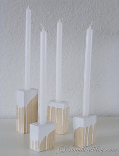 Easy to make wood block candle holders. http://www.songbirdblog.com