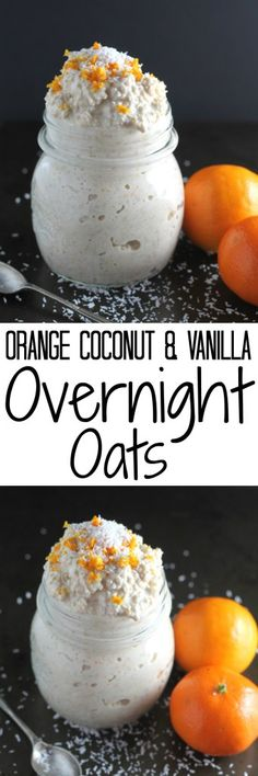 Orange, Coconut and Vanilla Overnight Oats. A citrus twist is added to this overnight oats recipe to take it up a notch. Pin this clean eating breakfast recipe for later. Vanilla Overnight Oats, Easy Overnight Oats, Breakfast Desayunos, Breakfast Recipes, Perfect Breakfast, Cooking Recipes, Healthy Recipes, Freezer Recipes, Freezer Cooking