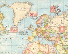 Dekostoff+GLOBAL,+Weltkarte,+hellblau-natur