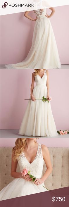 Allure bridal wedding dress. Romance edition 2716 The star of the stone is the delicate and dramatic Illusion back. Covered with gorgeous symmetrical Lace detailing. Beautiful tulle. Never been worn just tried in twice. Allure Bridals Dresses Wedding