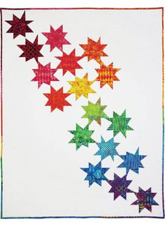 Falling Stars, Michael Miller Fabrics - change out the 17 rainbow fabrics for colors of your choice...