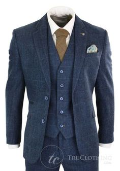 01faadd63ea3 Cavani Carnegi - Mens 3 Piece Navy Blue Tweed Check 1920 s Vintage Suit
