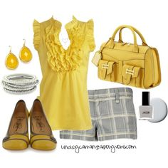 Mellow Yellow by lindsycarranza on Polyvore featuring moda, Hurley, Fly LONDON, Lauren Ralph Lauren, Jessica Simpson, Fantasy Jewelry Box, KC Designs, Arden B., plaid and yellow