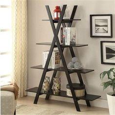 Modern A-Frame 4-Shelf Bookcase Bookshelf Display Shelves- Free Shipping