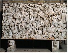47. Ludovisi Battle Sarcophagus. Late Imperial Roman. c. 250 C.E. Marble