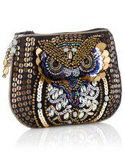 Oscar Owl Embellished Zip Top Purse