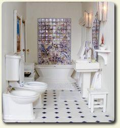 Custom miniature Art Deco bathroom decor for a recreation of a vintage 1930s Art Deco miniature house.
