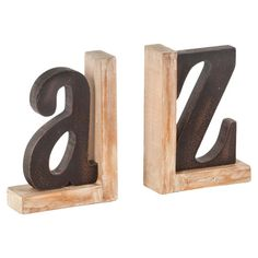 Bring rustic-chic style to your home office or library with this charming bookend, showcasing a typographic silhouette and weathered finish.   ...