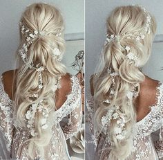 Half up half down hairstyle Idea with beautiful hair accessories