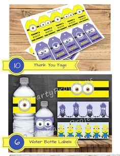 Minions Thank you tags and Minions Water bottle labels are part of our Despicable Me theme party package! Get the complete set at www.ThePartyProject.us