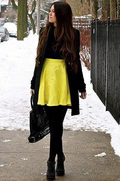 {limited black turtleneck, h&m neon yellow skirt (similar here), zara military jacket, gifted falke tights, elizabeth and james booties, gifted rachael ruddick black bag, micahel kors watch}