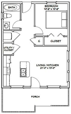 22x28 House 1-bedroom 1-bath 616 Sq Ft PDF Floor Plan | Etsy