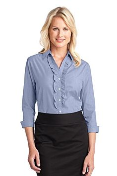 Ladies crosshatch ruffle easy care shirt Simply Elegant and Stylish.  Pearlized White or Smoke Buttons,Chambray Blue, Navy Frost or Pink Orchid