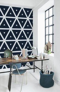 la plus belle papier peint géométrique blanc noir