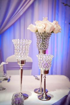 Photographer: FamZing Photography and Video; Elegant ballroom wedding reception centerpiece