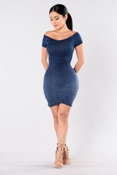 - Available in Dark Wash - Denim - Off the Shoulder - Knee Length - Fitted - 75% Cotton 23% Polyester 2% Spandex