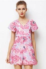 LUCLUC Pink Floral Print V-Neck Short Sleeve Dress