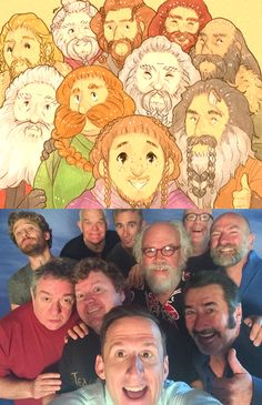 Well that didn't take long! Only days after Adam Brown, who plays Ori in The Hobbit, posted this selfie of the dwarves at HobbitCon, enterprising artist Leigh created the top image with all of their dwarven counterparts.