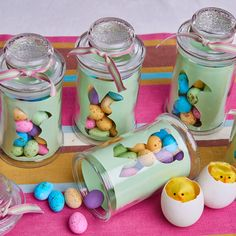 Bunny treat jars are quick and easy to make with the kids and make a lovely Easter gift! Easter Gift, Easter Crafts, Chocolate Nests, Bunny Templates, Paper Bunny, Paper Strips, Colored Paper, Glass Jars, Treats