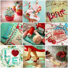 Just a pretty little collage of everybody's favorite red and aqua combo. Red And Teal, Red Turquoise, My Favorite Color, My Favorite Things, Color Stories, Up Girl, Blue Moon, Retro, Decoration