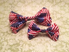 American Flag Pet Collar Bowtie Fourth of July by HemptressDesigns